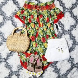 Tropical tunic top with red Tassel